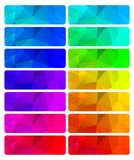 Vector set of abstract polygonal gradient backgrounds of differe. Nt colors that can be used in web design banners or buttons stock illustration