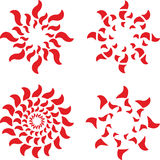 Vector set of abstract red with florid suns rays. Tattoo circle Stock Photography