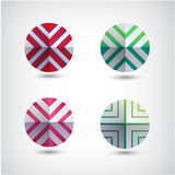 Vector set of abstract round decorated icons Royalty Free Stock Image