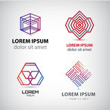 Vector set of abstract shapes, logos, icons isolated. Vector set of abstract shapes, abstract logos, icons isolated. Colorful logo, identity for company, web Stock Images