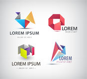 Vector set of abstract shapes, logos, icons isolated. Vector set of abstract shapes, abstract logos, icons isolated. Colorful logo, identity for company, web Royalty Free Stock Photo