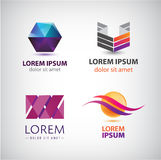 Vector set of abstract shapes, logos, icons isolated. Royalty Free Stock Image