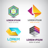 Vector set of abstract shapes, logos, icons isolated. Stock Images