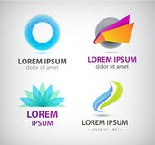 Vector set of abstract shapes, logos, icons isolated. Vector set of abstract shapes, abstract logos, icons isolated. Colorful logo, identity for company, web Royalty Free Stock Photos