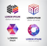 Vector set of abstract shapes, logos, icons isolated. Royalty Free Stock Images
