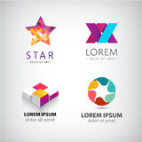 Vector set of abstract shapes, logos, icons isolated. Stock Image