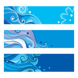 Vector set of abstract template with dotted swirls, blue curly lines and snowflakes isolated on white. Horizontal banner or layout Royalty Free Stock Image
