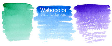 Vector set of abstract watercolor background with paper texture. Royalty Free Stock Image