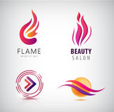 Vector set of abstract wavy logos, arrow, flame icon, sphere. Stock Photography