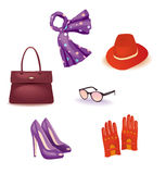 Vector set of accessories for Women. Accessories fashion bag hat shoes glasses Stock Photography