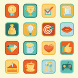 Vector set with achievement and awards badges stock illustration