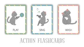Vector set of actions flash cards with cat vector illustration