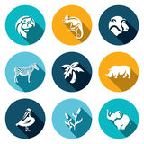 Vector Set of Africa Animals Icons. Stock Photo