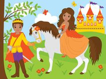 Vector African American Prince and Beautiful Princess. Vector set with African American prince and beautiful princess, horse and castle. Vector princess sitting Stock Photos