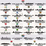 Vector set of african cities abstract skylines silhouettes. Set of african cities abstract skylines silhouettes Stock Photo