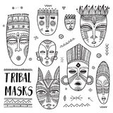 Vector set of African ethnic tribal masks with boho ornaments Royalty Free Stock Images