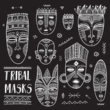 Vector set of African ethnic tribal masks with boho ornaments Stock Images