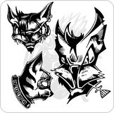 Vector Set - Aggressive Cats. Royalty Free Stock Photos