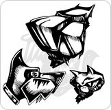 Vector Set - Aggressive Dogs. Royalty Free Stock Images