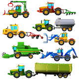 Vector set of agricultural vehicles and farm machines. Isolated Stock Images