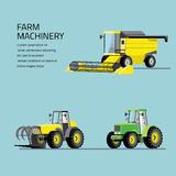 Vector set of agricultural vehicles and farm machines. Royalty Free Stock Image