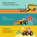 Vector set of agricultural vehicles and farm machines. Tractors, harvesters, combines. Stock Image