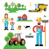 Vector set of agricultural vehicles Royalty Free Stock Photos