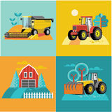 Vector set of agricultural vehicles and farm machines. Tractors, harvesters, combines. Royalty Free Stock Photo