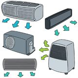 Vector set of air conditioner. Hand drawn cartoon, doodle illustration Stock Photos