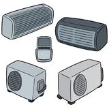 Vector set of air conditioner. Hand drawn cartoon, doodle illustration Royalty Free Stock Photo