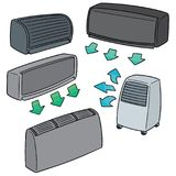 Vector set of air conditioner. Hand drawn cartoon, doodle illustration Royalty Free Stock Image