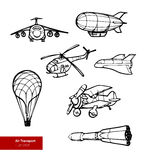 Vector Set of Air Transport Illustrations. Royalty Free Stock Images