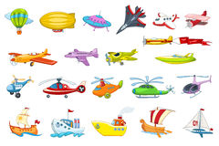 Vector set of air and water transport illustration Royalty Free Stock Photo