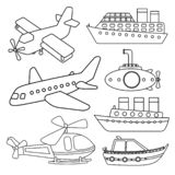 Vector set of air and water transport. royalty free illustration