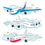 Vector set aircraft, of comic style colorful icons planes. Vector illustration sketch, of comic style colorful icons, set aircraft, planes on the background of stock illustration