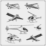 Vector set of Airplane and Helicopter. royalty free illustration