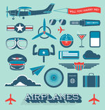 Vector Set: Airplanes and Flight Icons and Objects stock illustration