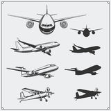 Vector set of airplanes silhouettes. Stock Photo