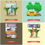 Vector set of airport concept design elements in flat style Royalty Free Stock Photography