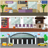 Vector set of airport interior concept design elements, flat style. Royalty Free Stock Photo