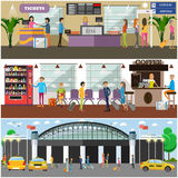 Vector set of airport and passengers concept design elements Royalty Free Stock Image