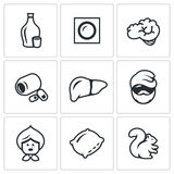 Vector Set of Alcohol Addiction Icons. Hooch, patch, brain, pills, liver, alcoholic, old woman, pillow, squirrel. Royalty Free Stock Photos