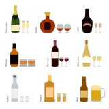 Vector set of alcohol bottles with glasses Royalty Free Stock Photography