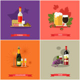 Vector set of alcoholic beverages concept banners, posters, flat style Stock Photos