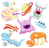 Vector set of aliens. And monsters. Isolated over white Royalty Free Stock Images