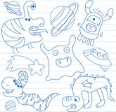 Vector set of aliens Stock Photo