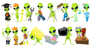 Vector set of aliens profession illustrations. Set of green aliens wearing uniforms and holding working instruments. Set of aliens of different professions such Royalty Free Stock Image