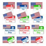 Vector set all-purpose usa national day emblem with calendar and Royalty Free Stock Photos