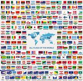 Vector set of all world countries flags sovereign states, dependent, overseas territories and other areas,-total of 232 flags. Map of the world with countries Stock Photography