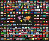 Vector set of all world countriessovereign states flags arranged in alphabetical order. Map of the world with countries names. And borders royalty free illustration